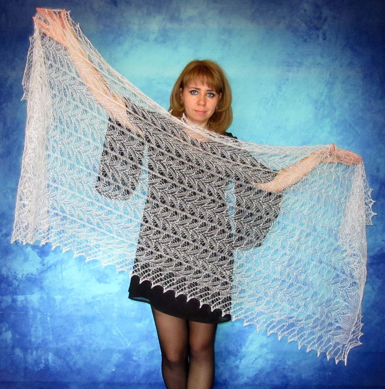 Lace shawl,White scarf,Hand knit shawl,Wool wrap,Goat down scarf ...