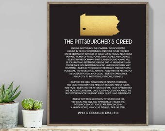 Pittsburgh Creed Wall Art / Pennsylvania State Map Wall Art / Black and Gold PA State Map / Housewarming ▷ Canvas, Paper {or} Printable