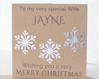 Personalised Handmade Christmas Card Wife Girlfriend Husband Boyfriend. Handmade Snowflake Winter Wonderland Christmas Card.