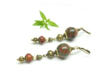 ~. Picasso Jasper. ~ rustic earrings, Jasper beads.