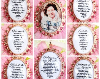 Rose Gold Personalised Bouquet Charms For Flower Girl Bridesmaid Maid Of Honour Mother of the Bride Mother Of The Groom Photo Memory Charms