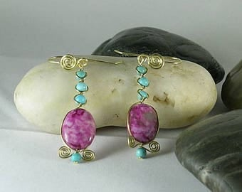 Turquoise & Sugilite Drop Earrings - Native American - Aztec - Southwest
