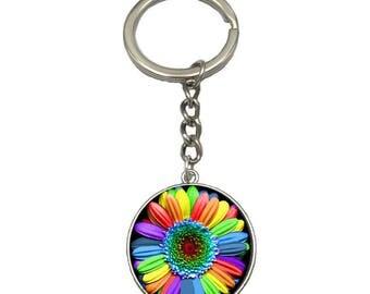 Rainbow Flower Glass Charm Key Chain