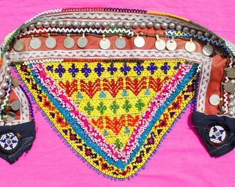 Indian Vintage Banjara Gypsy Belt,Vintage Tribal belly dance belt Boho Gypsy Kutchi Beaded Mirror work / Tribal Ring Belt,Ibiza Fashion.