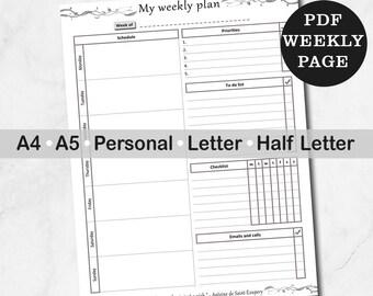 Week Planner On One Page, Printable Weekly Planner, Digital Weekly To Do List, Weekly Tasks Schedule
