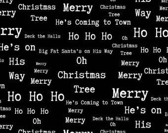 Around Town Christmas by Studio E - Christmas Words Black - Cotton Woven Fabric