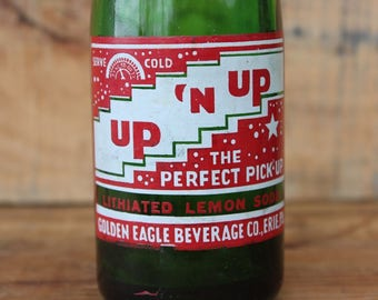 Vintage Up N Up Lithiated Lemon Soda Bottle Golden Eagle Beverage Co Erie PA