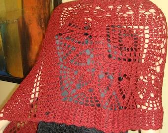 Crochet burgundy shawl, hand made  shawl, knitted shawl, burgundy lace shawl