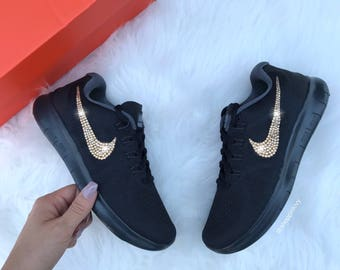 competitive price 5dc1c f9551 ... wholesale gold swarovski nike free rn running shoes customized with  swarovski crystals bling nike shoes 2b0c2