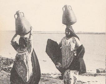 FREE POST - Old Postcard - EGYPT Women Carrying Water from the Nile - Vintage Postcard - Unused