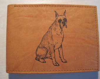 """Mankind Wallets Men's Leather RFID Blocking Billfold w/ """"Boxer-Dog"""" Image~Makes a Great Gift!"""