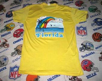 vintage 80s FLORIDA RAIBNBOW SHIRT - sz lg - soft thin emo