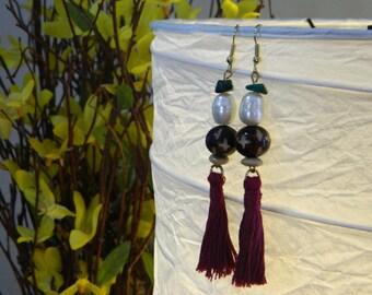 Vintage Tassel Earrings with Pearls