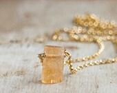 Tiny Raw Topaz Necklace, November Birthstone, Rough Stone Necklace, Imperial Topaz Jewellery, Raw Crystal Necklace, Golden Topaz Jewelry