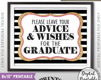 "Graduation Advice, Please Leave your Advice and Well Wishes for the Graduate, Black Pink & Gold Glitter Printable 8x10"" Instant Download"