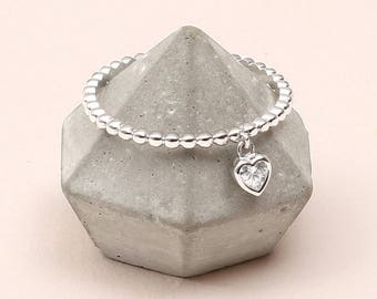 Sterling Silver Crystal Heart Charm Ring