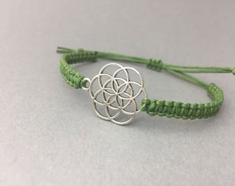 Flower of Life Macrium bracelet//Life flower//Silver or Bronze//statement bracelet//Customizable