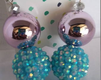 Light pink and blue earrings