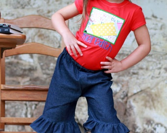 Red Pencil and denim ruffle capri School Outfit with bow