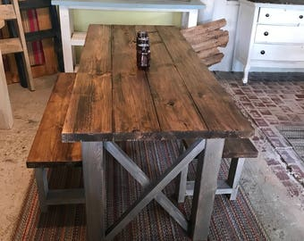 Rustic Wooden Farmhouse Table Set With Provincial Brown Top And Classic  Gray Base Criss Cross Style Part 89