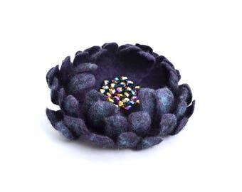 Purple Flower Brooch Felt Brooch Flower Purple flower pin Felted wool brooch Coat brooch Unique floral jewelry Gift for woman Hair clips