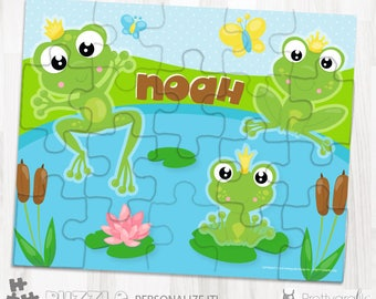 SALES Frog prince personalized puzzle, 20 pieces puzzle, name puzzle, Personalized name puzzle, Kids Personalized Gift - PU167