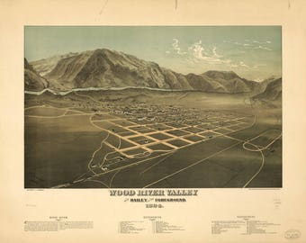 Wood River Valley Panoramic Print dated 1884. This print is a wonderful wall decoration for Den, Office, Man Cave or any wall.
