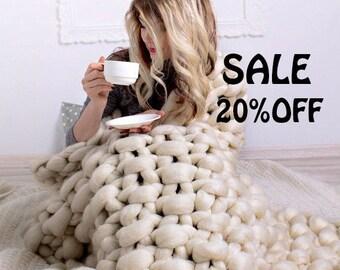 SUMMER SALE Super Chunky Knit Blanket, Chunky knit Blanket, Chunky knits, Chunky blanket, Merino wool blanket, Wool Blanket, Throw Blanket,