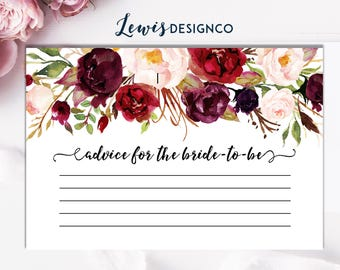 Advice for the Bride to Be Card Insert, Bridal Shower Insert, Fall Autumn Bridal Shower Invitation,  Floral Bridal Shower Advice Cards