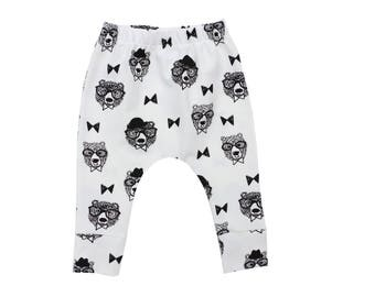 Baby leggings, Toddlers Feather Leggings, Mono Harems, Bears Kids Leggings, Toddler Leggings, Baby Gift, Boy Leggings