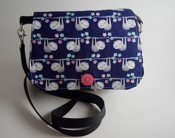 small cross body sloth purse purple and gray sloth purse fabric everyday purse