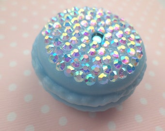 SALE Bedazzled Periwinkle Mini Macaroon Box