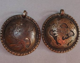 Two Buddhist Metal Amulets Pendants Dragon and Bird from Nepal, Buddhist Jewelry, Folk Amulet, Tribal Art, FREE SHIPPING