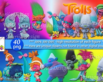 Trolls Clipart - 40 PNG, 300 Dpi, Trolls Png, Trolls clip art, Trolls Instant download, Trolls printables, Trolls party decorations