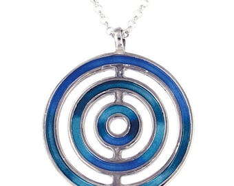 925 Sterling Silver Blue Enamelled Ocean  Pendant  with 18 inch Chain - Made in UK