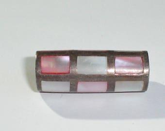 Vintage 925 Sterling Silver & Pink Shell, MOP, Slide/Tube Necklace Pendant