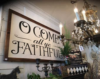 Christmas Sign | Oh Come All Ye Faithful | Christian Sign | Rustic Sign