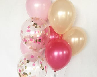 Pink Hot Pink Peach Latex Balloons Flamingo Party Confetti Balloons Bridal Shower Balloons Bachelorette Party Pink and Gold Pink and Peach