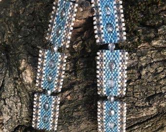Rectangular miyuki turquoise and beige earrings