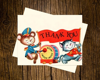 Marching Band Thank You Note Cards Custom Printed Handmade Stationery Set of 12 Red Blue Vintage Ecru Animals