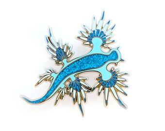 Nudibranch Enamel Pin (nudibranch pin glaucus atlanticus lapel pin badge cute nudibranch jewelry cloisonne backpack pin sea slug cute pin)