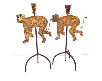 Monkey Candlesticks -- Metal Candlesticks -- Animal Candlesticks -- Vintage Candlesticks -- Monkey Candlesticks -- Metal Monkey Candlesticks