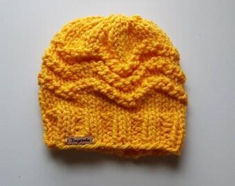 Knit hat - knit winter hat - yellow winter hat - yellow knit hat - bulky knit - bulky knit hat - textured winter hat - unisex winter hat