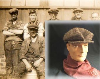 Vintage Men's Brown Tweed Irish Cap, Made in Ireland, Circa 1980s