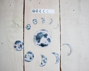 Watercolor Moon Phases Sticker Pack