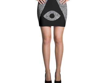Illuminati Grey Tweed Mini Skirt