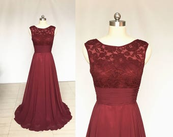 Scoop Burgundy Lace Chiffon Long Bridesmaid Dress