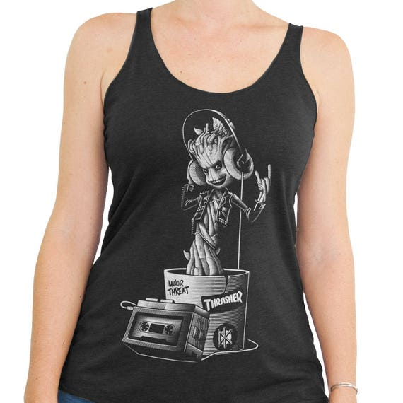 I am Groot Shirt - Baby Groot - Guardiens of the Galaxy Groot Hand Screen Printed on a  Women's Tank Top - Baby Groot Shirt -Galaxy Shirt