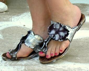 "Greek Handmade Leather Sandals, Handpainted Sandals, Women Sandals ""Tinos"""