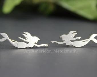 Sterling Silver Mermaid Ear Climbers, Mermaid Earrings, Silver Climber Earrings, Mermaid Jewelry, Ear Climber, Ear Jacket, Ear Cuff, Ear Fin